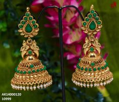 Online Earrings at best prices Gold Jhumka Earrings, Indian Jewelry Earrings, Indian Wedding Jewelry, Antique Earrings, Wedding Jewelry Sets, Gold Bangles Design, Gold Earrings Designs, Gold Jewellery Design, Jhumka Designs