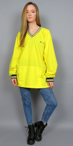 Vintage 90s Champion Spell Out Windbreaker Yellow Pullover V Neck Hip Hop Retro Old School Bright Fresh Prince Jacket Bomber Streetwear XL by BlueFridayVintage on Etsy