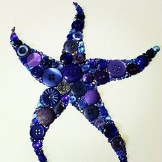 Button Starfish Button Art & Swarovski Art Button by BellePapiers, $104.00