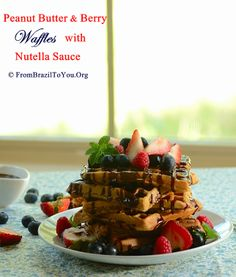 Recipe for an outrageously delicious peanut butter and berry waffles with nutella sauce. Banana Breakfast Recipes, Brunch Recipes, Brunch Ideas, Breakfast Ideas, Nutella Waffles, Bisquick Recipes, Avocado Recipes, Cooking Recipes, Cooking Ideas