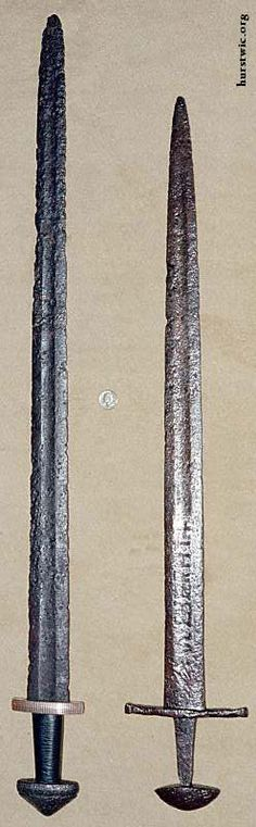 Two Ulfberht blades - (L) Hilt by Jeff Pringle, (R) 'Counterfeit'/not crucible steel?