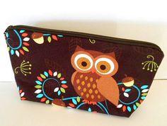Owl Large Padded Cosmetic Bag Flat bottom ECO Friendly by JPATPURSES