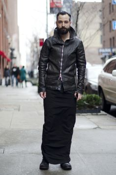 Long Skirt - Leather jacket - Street Style