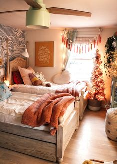 Christmas Home Decor in our Small Space- Holiday Housewalk 2019 – Nesting With Grace - Eclectic Home Decor Christmas Decorations For The Home, Christmas Home, Christmas Vacation, Holiday Decorating, Christmas 2019, Girls Bedroom, Bedroom Decor, Cottage Living, Cozy Living