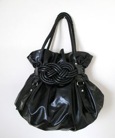 Black Shoulder Purse Hobo Style Bag Double Handle Braided Detailing Super Cute