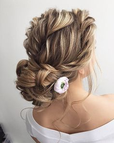 Looking for perfect wedding hairstyle? These Beautiful messy updo with braids wedding hairstyle inspiration perfect for elegant to boho brides... #weddinghairstyles