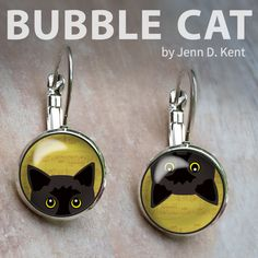 Handmade Gifts by Illustrator Jenn Kent, owner of Bubble Cat. Bubble Cat, Yellow Eyes, Organza Gift Bags, My Glass, Matching Necklaces, Glass Domes, Pet Portraits, Ear Piercings, Illustrator