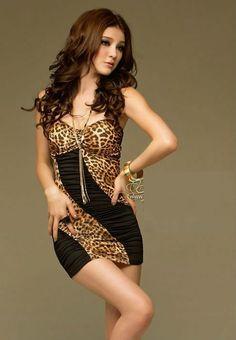 Sexy Leopard Clubwear Party Mini Dress  #leopardprintmini #minidress #miniskirt