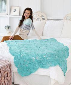 Pineapple Squares Throw Crochet Pattern #crochet #redheartyarns