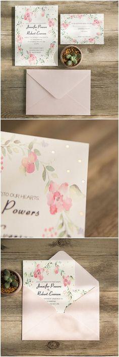 Spring pink flower foiled wedding invitations by Elegantweddinginvites.com