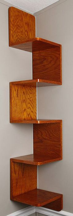 Zigzag shelf - Good idea if your walls are square.