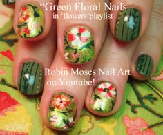 Nail-art by Robin Moses - Green Tapestry Floral!