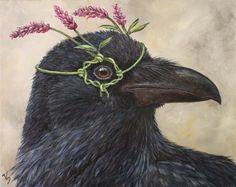 """Greta"" - Raven with Pennsylvania smartweed - by Vicki Sawyer Crow Art, Raven Art, Bird Art, Illustrations, Illustration Art, Merle, Jackdaw, Crows Ravens, Fauna"