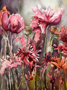 'Opium Poppies', watercolour by Georgia Mansur. Join Georgia at one of the upcoming workshops in the USA, Europe, Australia or the UK! georgia@georgiamansur.com