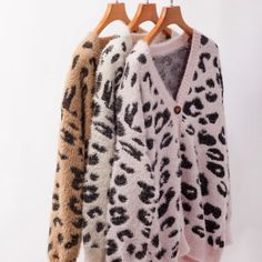 Womens Long Cardigan Leopard Open Front Knitted Sweater Casual Button Down Coat Outwear Tops Loose Sweater, Long Cardigan, Knit Cardigan, Pullover Sweaters, Cardigans, Leopard Cardigan, Collar Pattern, Cardigan Fashion, Down Coat