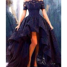 Bateau Sexy Navy Short Sleeve Lace Evening Dress New Arrival Hi-Lo... ❤ liked on Polyvore featuring dresses, plus size dresses, plus size formal dresses, high low prom dresses, navy blue dress and sexy cocktail dresses