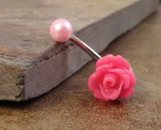 Pink Rose Flower Belly Button Ring Blush Pearl by MidnightsMojo, $15.00