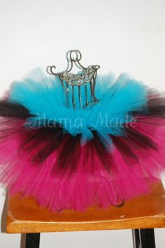 Fuchsia Black and Turquoise Triple Layered Tutu by mamamadebows, $26.00+