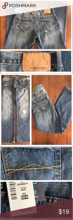 Aeropostale Mens Relaxed Straight Leg Jeans 29x30 NEW Aeropostale Style 4697 Mens Relaxed Straight Leg Jeans 962 29x30 NWT 👖 MSRP: $49.95  Features: Distressed Med-Light Blue Wash Size: Men's 29 x 30  Condition Notes: NEW WITH TAGS Aeropostale Jeans Relaxed