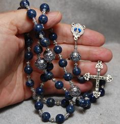 Blue Denim Lapis with Sterling Silver by HeartFeltRosaries on Etsy