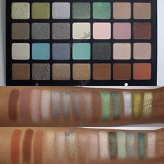 """""""Sneaky peaky....Natasha Denona 28 Eyeshadow Palette - Green/Brown. Swatched over primer using a brush. I wasn't going to get these palettes AT ALL....but…"""""""