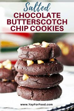For Food - These delicious Salted Chocolate Butterscotch Chip Cookies are soft, cake-like, and melt-in-your-mouth. A 30 minute cookie recipe that makes 24 sweet treats. Chocolate Chip Cookies, Butterscotch Cookies, Salted Chocolate, Chocolate Flavors, Chocolate Recipes, Delicious Chocolate, Butterscotch Sauce, Chocolate Heaven, Chocolate Treats