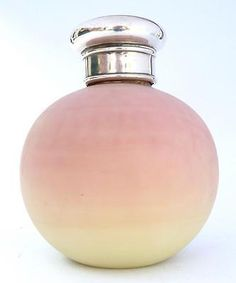 FINE SOLID ANTIQUE SILVER THOMAS WEBB BURMESE PINK GLASS PERFUME BOTTLE 1904