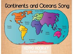 Map Of 7 Continents And 5 Oceans Digital Computer Graphics Map Of