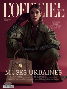 Ronja Furrer lands the September 2017 cover of L'Officiel Switzerland. Photographed by Andreas Ortner, the brunette beauty wears an army green jacket, top