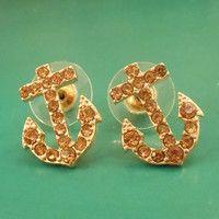 Gold Anchor Earrings - Stud Earrings - Rhinestone Anchor Earrings $10
