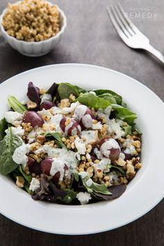 Goat Cheese and Grape Sorghum Salad with Greek Yogurt Green Goddess Dressing
