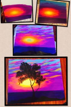 Step by step to the sunset and tree painting for beginners. Beautiful f ... #beautiful #beginners #painting #sunset #bohemian