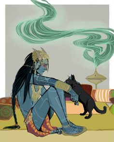 Jotun Loki and kitty Art Print by Marty-mc