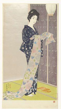 Jonge vrouw in een zomer kimono, Hashiguchi Goyô, 1920