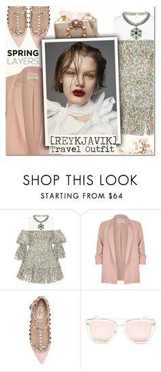 """Reykjavik Travel Outfits"" by vampirella24 ❤ liked on Polyvore featuring Giambattista Valli, River Island, Valentino, Quay and Miu Miu"