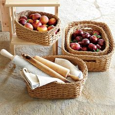 Panama Weave Washable Baskets, Set of 2 | Williams-Sonoma