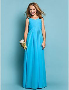 Floor-length Chiffon Junior Bridesmaid Dress - Pool Sheath/C... – GBP £ 51.09