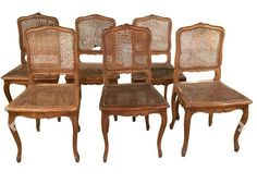 Antique Set of 6 French Style Caned Chairs by Lyon