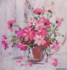 Pink flowers ribbon embroidery