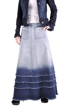 plus size jean skirts | skirts long denim skirts extra tall shades of blue long jean skirt ...