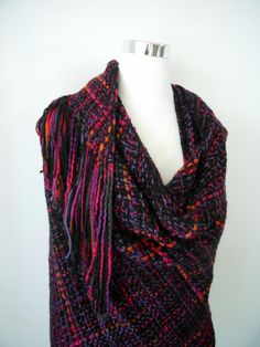 Mystic Midnight - Hand Woven Triangle Shawl Fringed Handmade Bohemian Wrap - by EarthMother Designs