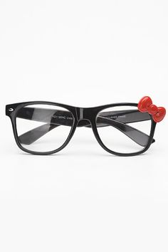 0464b3f9e8c5c Large Bow Accent Clear Wayfarer Glasses - Black Red