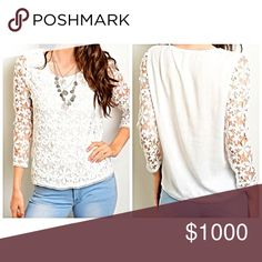 Ivory crochet top w/sheer sleeves! So classic and chic - blouse hits at hip line with intricate detail crochet and sheer sleeve- beautiful! Tops