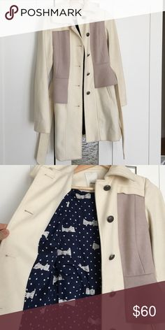 Anthropologie trench coat with peplum waist Anthropologie coat worn only once! Peplum purple waist with slight flair. Adorable lining! Selling because I moved to a warmer city and have no need for it. Anthropologie Jackets & Coats Trench Coats