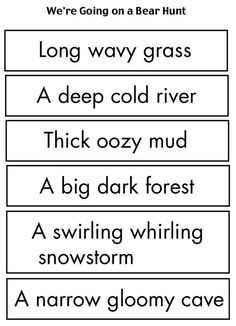 We're Going on a Bear Hunt sequencing activity. I cut off the noun at the end of the word strips, and the kids had to match the descriptions with the pictures. We also put the pictures in the order of the story. Used with We're Going on a Bear Hunt by Michael Rosen.: