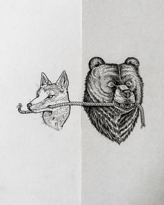awesome piece of art #sketch #drawing #wolf #bear #craftsmanship #crafts #ink #1924us