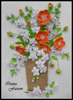 Obraz - kytka ve vázy * quilling