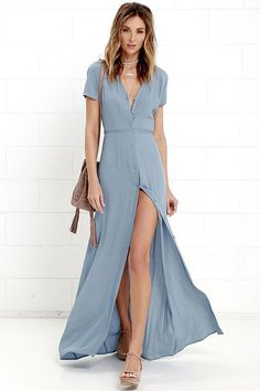 Life is beautiful, and it can be even more spectacular with the Glamorous Vida Bonita Dusty Blue Maxi Dress! Button-up maxi dress has a tying sash belt. Dusty Blue Dress, Blue Maxi, Blue Dresses, Casual Dresses, Short Dresses, Dresses With Sleeves, Summer Dresses, Maxi Dresses, Summer Maxi