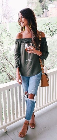 #summer #outfits  Green Off The Shoulder Top + Destroyed Jeans + Camel Leather Shoulder Bag + Nude Sandals