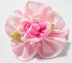 Folded Rose Baby Hair Clip Pink. 4cm (L) by 4cm (W). Ideal for children from 1 1/2 year old onwards. 1 for $1.50. Like us at https://www.facebook.com/pages/ChucklingBaby/675475065907287.